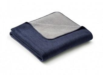 Biederlack-Plaid-Duo-Cotton-Melange-marine-graphit