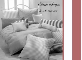 Vichy Bettwäsche bordeaux rot Classic Stripes