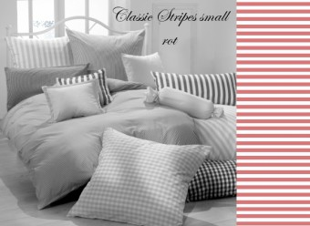 Vichy Bettwäsche rot Classic Stripes small