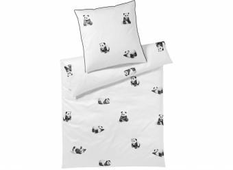 Elegante-Bettwäsche-Panda-Bear-Satin-weiß