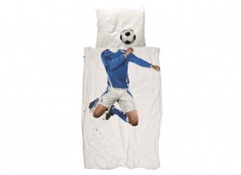 Snurk-Bettwäsche-Fussballer-Perkal-blau