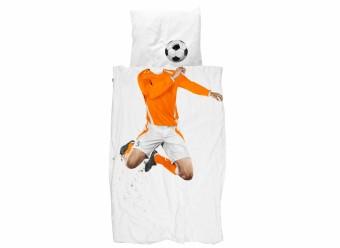 Snurk-Bettwäsche-Fussballer-Perkal-orange